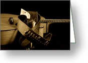 Mac Miller Greeting Cards - Six Gun in Holster and Guitar Greeting Card by M K  Miller