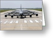 Kc Greeting Cards - Six Kc-135 Stratotankers Demonstrate Greeting Card by Stocktrek Images