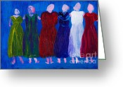 Posh Painting Greeting Cards - Six Ladies in Dresses Greeting Card by Simon Bratt Photography