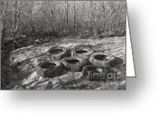 Stippling Greeting Cards - Six Tires Greeting Card by Janeen Wassink Searles