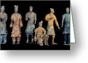 Qin Shi Huang Greeting Cards - Six Types Of Soldiers Were Found Among Greeting Card by O. Louis Mazzatenta
