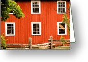 Cedar Fence Greeting Cards - Six Windows Greeting Card by Ian  MacDonald