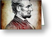Abraham Mixed Media Greeting Cards - Sixteenth President Greeting Card by Angelina Vick