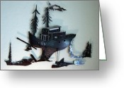 Fishing Sculpture Greeting Cards - Skag  SOLD Greeting Card by Steve Mudge