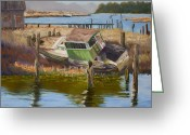 Washington Pastels Greeting Cards - Skagit Slough Trawler Greeting Card by James Geddes