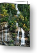 Skagway Greeting Cards - Skagway Waterfall Vertical Panorama Greeting Card by Michael Peychich