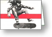 Player Mixed Media Greeting Cards - Skate Greeting Card by Dan Haraga