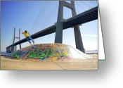 Young Teen Greeting Cards - Skate Under Bridge Greeting Card by Carlos Caetano