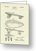 Antique Skates Greeting Cards - Skateboard Coaster Car 1948 Patent Art  Greeting Card by Prior Art Design