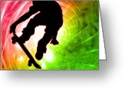 Figures Silhouettes Young Sport Grunge Athletes Greeting Cards - Skateboarder in a Psychedelic Cyclone Greeting Card by Elaine Plesser