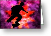 Figures Silhouettes Young Sport Grunge Athletes Greeting Cards - Skateboarder in Cosmic Clouds Greeting Card by Elaine Plesser