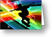 Figures Silhouettes Young Sport Grunge Athletes Greeting Cards - Skateboarder in Criss Cross Lightning Greeting Card by Elaine Plesser