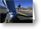 Image Type Photo Greeting Cards - Skateboarders On A Smooth Road Greeting Card by Bill Hatcher