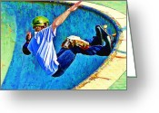 Figures Silhouettes Young Sport Grunge Athletes Greeting Cards - Skateboarding in the Bowl Greeting Card by Elaine Plesser