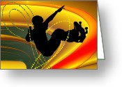 Figures Silhouettes Young Sport Grunge Athletes Greeting Cards - Skateboarding in the Bowl Silhouette Greeting Card by Elaine Plesser