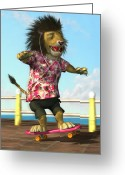M P Davey Greeting Cards - skateboarding Lion Greeting Card by Martin Davey