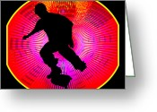 Figures Silhouettes Young Sport Grunge Athletes Greeting Cards - Skateboarding on Fluorescent Starburst Greeting Card by Elaine Plesser