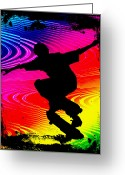 Figures Silhouettes Young Sport Grunge Athletes Greeting Cards - Skateboarding on Rainbow Grunge Background Greeting Card by Elaine Plesser