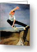 Figures Silhouettes Young Sport Grunge Athletes Greeting Cards - Skateboarding the Wall  Greeting Card by Elaine Plesser