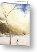 Winter Painting Greeting Cards - Skater Greeting Card by Peter Jai