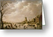 Ice Skater Greeting Cards - Skaters on a Frozen Canal Greeting Card by Hendrik Willem Schweickardt
