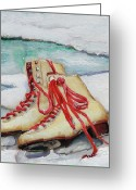 Ice Skates Greeting Cards - Skating Dreams Greeting Card by Enzie Shahmiri