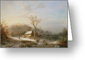 White River Scene Greeting Cards - Skating scene Greeting Card by Henri Cleenewerck