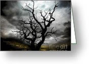 Threatening Greeting Cards - Skeletal Tree Greeting Card by Meirion Matthias