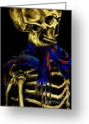 Creepy Pastels Greeting Cards - Skeleton Fashion Victim Greeting Card by Tylir Wisdom