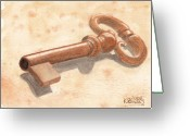 Ken Greeting Cards - Skeleton Key Greeting Card by Ken Powers