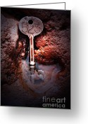 Divine Greeting Cards - Skeleton Key No 523 Greeting Card by C E Dyer