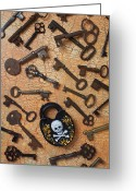 Rust Greeting Cards - Skeleton Lock And Keys Greeting Card by Garry Gay