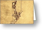 Dark Drawings Greeting Cards - Skeleton On Cycle Greeting Card by Autogiro Illustration