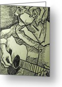 Guitar Pastels Greeting Cards - Sketch - Guitar Man Greeting Card by Kamil Swiatek