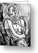In The Nude Greeting Cards - Sketch - Nude 3 - 2011 Greeting Card by Kamil Swiatek