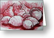 Citrus Fruits Greeting Cards - Sketch - Tasty Fruits Greeting Card by Kamil Swiatek