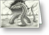 Cavern Drawings Greeting Cards - sketch of K-Moss tribal myth of the river. Greeting Card by Jr Sanderson