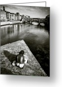 Florence Greeting Cards - Sketching Greeting Card by David Bowman