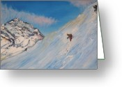 Gregory Allen Page Greeting Cards - Ski Alaska Heli Ski Greeting Card by Gregory Allen Page