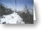 Winter Sports Photo Greeting Cards - Ski Chairlift During Winter Greeting Card by Brendan Reals