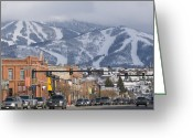 "\""colorado Resort\\\"" Greeting Cards - Ski Resort And Downtown Steamboat Greeting Card by Rich Reid"
