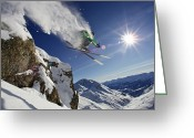 Chevalier Greeting Cards - Skier In Midair On Snowy Mountain Greeting Card by Michael Truelove