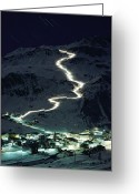 Time Exposures Greeting Cards - Skiers Bearing Torches Ski Down Mont Greeting Card by George F. Mobley