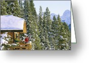 Winter Views Greeting Cards - Skiers On Balcony Of Ski Lodge Prepare Greeting Card by Mark Cosslett