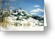 "\""colorado Resort\\\"" Greeting Cards - Skiers Paradise Greeting Card by Barbara Jewell"