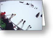 Leisure Activity Greeting Cards - Skiers Sitting On Chairlift Greeting Card by William Andrew