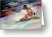 Sports Art Painting Greeting Cards - Skiing 01 Greeting Card by Miki De Goodaboom