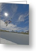 Ski Jump Greeting Cards - Skiing Aerial Maneuvers And Flips Greeting Card by Gordon Wiltsie