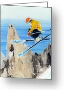 Sports Art Painting Greeting Cards - Skiing at Flegere Greeting Card by Sara Pendlebury