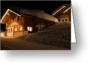 Snowy Night Greeting Cards - Skiing huts at night in Montafon Greeting Card by Frank Gaertner